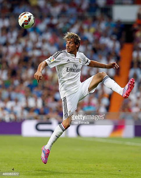 Fabio Coentrao of Real Madrid in action during the La Liga match between Real Madrid CF and Club Atletico de Madrid at Estadio Santiago Bernabeu on...