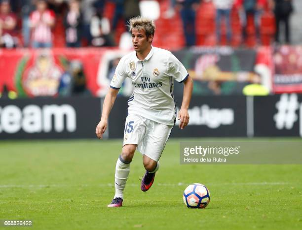 Fabio Coentrao of Real Madrid in action during the La Liga match between Real Sporting de Gijon and Real Madrid at Estadio El Molinon on April 15...