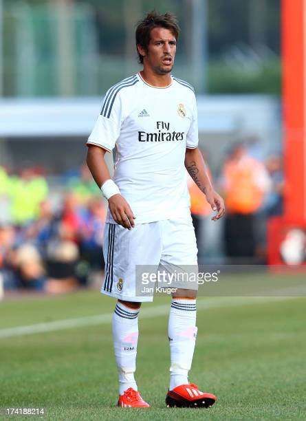 Fabio Coentrao of Real Madrid looks on during a pre season friendly match between AFC Bournemouth and Real Madrid at Goldsands Stadium on July 21...
