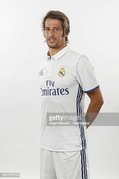 Fabio Coentrao of Real Madrid poses during a portrait session at Valdebebas training ground on August 18 2016 in Madrid Spain