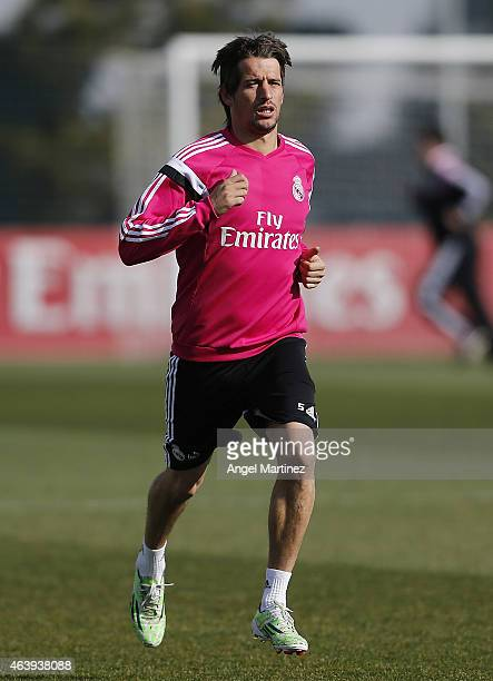 Fabio Coentrao of Real Madrid runs during a training session at Valdebebas training ground on February 20 2015 in Madrid Spain