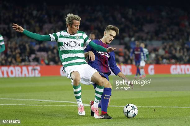 Fabio Coentrao of Sporting Club de Portugal Denis Suarez of FC Barcelona during the UEFA Champions League group D match between FC Barcelona and...