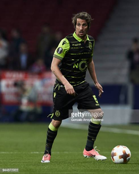Fabio Coentrao of Sporting CP controls the ball during the UEFA Europa League quarter final leg one match between Club Atletico Madrid and Sporting...