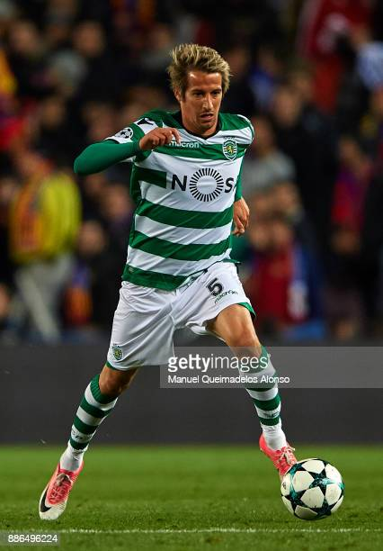 Fabio Coentrao of Sporting CP in action during the UEFA Champions League group D match between FC Barcelona and Sporting CP at Camp Nou on December 5...