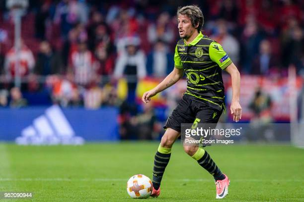 Fabio Coentrao of Sporting CP in action during the UEFA Europa League quarter final leg one match between Atletico Madrid and Sporting CP at Wanda...