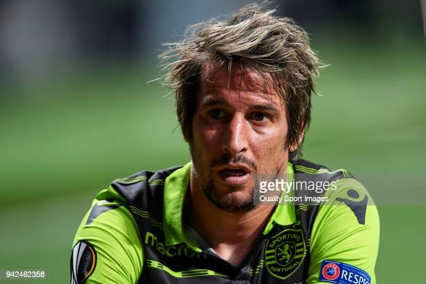 Fabio Coentrao of Sporting CP looks on during the UEFA Europa League quarter final leg one match between Atletico Madrid and Sporting CP at Wanda...
