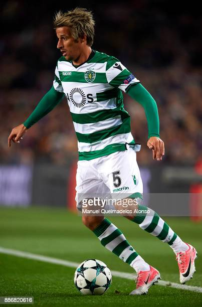 Fabio Coentrao of Sporting in action during the UEFA Champions League group D match between FC Barcelona and Sporting CP at Camp Nou on December 5...