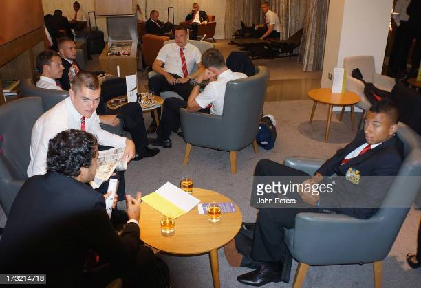 Fabio da Silva Michael Keane and Jesse Lingard of Manchester United check in at Manchester Airport ahead of their preseason tour to Bangkok Australia...