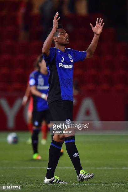 Fabio Da Silva of Gamba Osaka reacts after the final whistle during the AFC Asian Champions League match between Adelaide United and Gamba Osaka at...