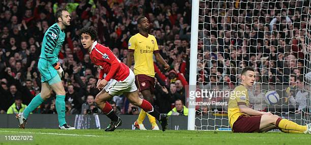 Fabio Da Silva of Manchester United celebrates scoring their first goal during the FA Cup sponsored by E.on 6th Round match at Old Trafford on March...