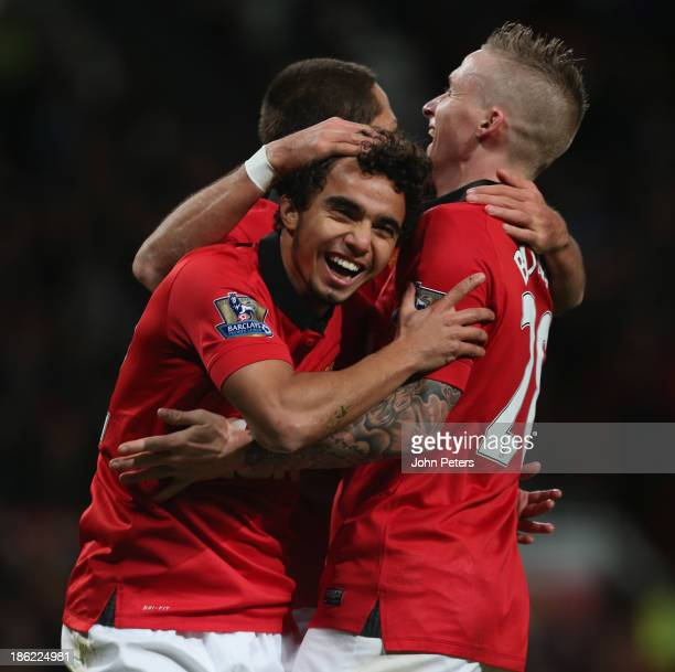 Fabio da Silva of Manchester United celebrates scoring their fourth goal during the Capital One Cup Fourth Round match between Manchester United and...