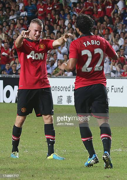 Fabio da Silva of Manchester United celebrates scoring their second goal during the preseason friendly match between Kitchee FC and Manchester United...