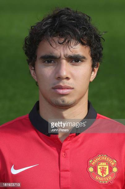 Fabio da Silva of Manchester United poses at the annual club photocall at Old Trafford on September 26 2013 in Manchester England