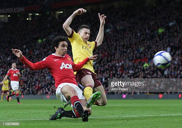 Fabio Da Silva of Manchester United scores their first goal during the FA Cup sponsored by E.on 6th Round match at Old Trafford on March 12, 2011 in...