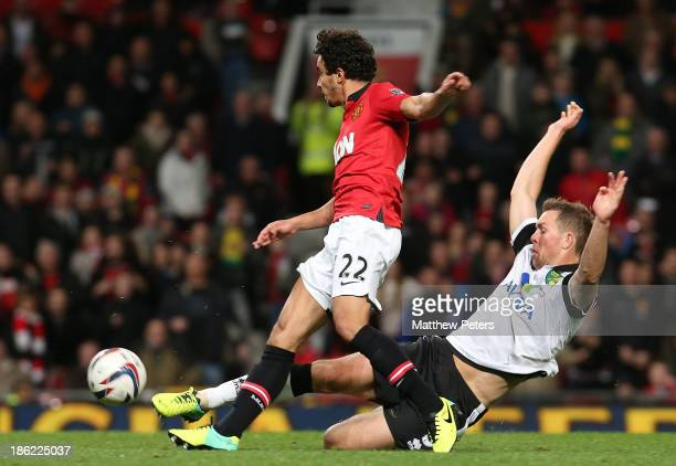 Fabio da Silva of Manchester United scores their fourth goal during the Capital One Cup Fourth Round match between Manchester United and Norwich City...