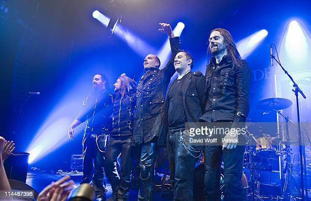 Fabio dAmore Mario Hirzinger Georg Neuhauser Thomas Buchberger and Andreas Schipflinger of Serenity open for Delain at L'Alhambra on May 21 2011 in...