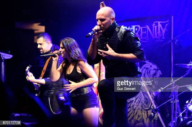 Fabio D'Amore Natascha Koch and Georg Neuhauser of Serenity perform live on stage at KOKO on November 1 2017 in London England