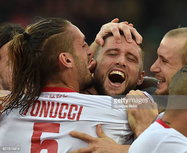 Fabio Daprela' of AS Bari celebrates after scoring the goal 20 during the Serie B match between AS Bari and US Salernitana FC at Stadio San Nicola on...