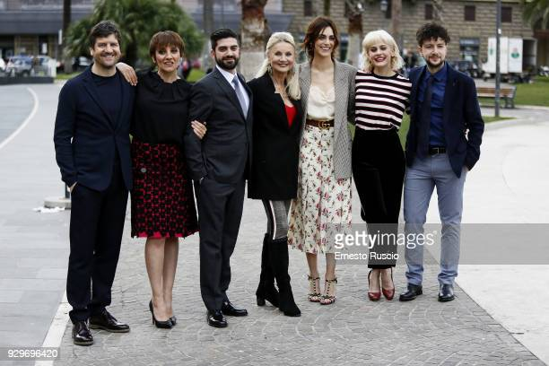 Fabio De Luigi Giuseppe Stasi Lucia Ocone Barbara Bouchet Miriam Leone Marina Rocco and Giancarlo Fontana attend a photocall for 'Metti La Nonna Nel...