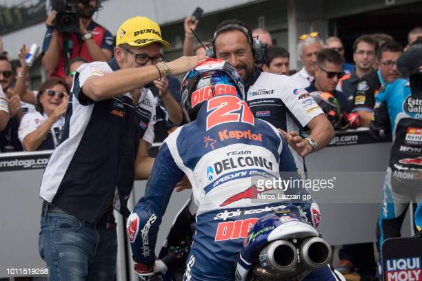 Fabio Di Giannantonio of Italy and Del Conca Gresini Moto3 celebrates the victory with team at the end of the Moto3 Race during the MotoGp of Czech...