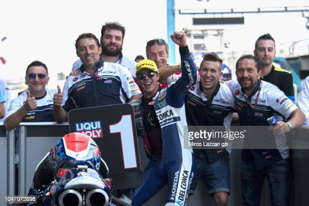 Fabio Di Giannantonio of Italy and Del Conca Gresini Moto3 celebrates the victory with team at the end of the Moto3 race during the MotoGP Of...