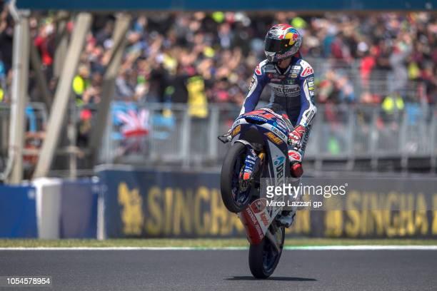 Fabio Di Giannantonio of Italy and Del Conca Gresini Moto3 celebrates at the end of the Moto3 race during the MotoGP of Australia Race during the...