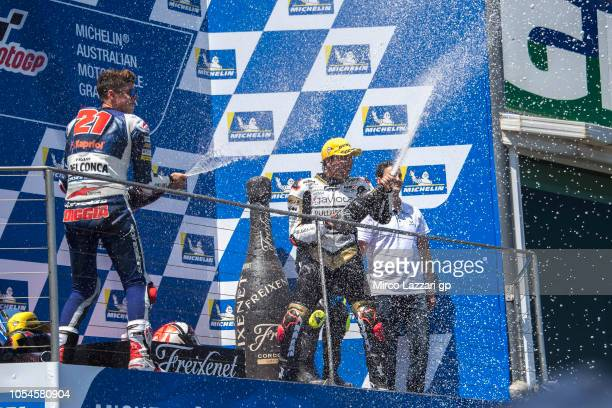 Fabio Di Giannantonio of Italy and Del Conca Gresini Moto3 celebrates with champagne on the podium at the end of the Moto3 race during the MotoGP of...