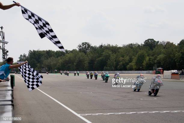 Fabio Di Giannantonio of Italy and Del Conca Gresini Moto3 cuts the finish lane and celebrates the victory at the end of the Moto3 Race during the...