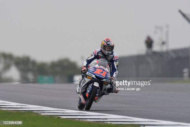 Fabio Di Giannantonio of Italy and Del Conca Gresini Moto3 heads down a straight during the wurmup during the MotoGp Of Great Britain Race at...