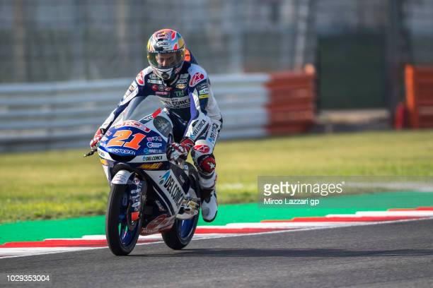 Fabio Di Giannantonio of Italy and Del Conca Gresini Moto3 heads down a straight during the qualifying practice during the MotoGP of San Marino...