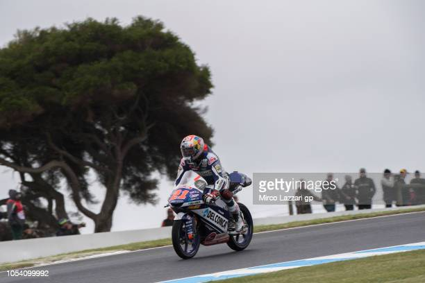 Fabio Di Giannantonio of Italy and Del Conca Gresini Moto3 heads down a straight during the Moto3 qualifying during qualifying for the 2018 MotoGP of...