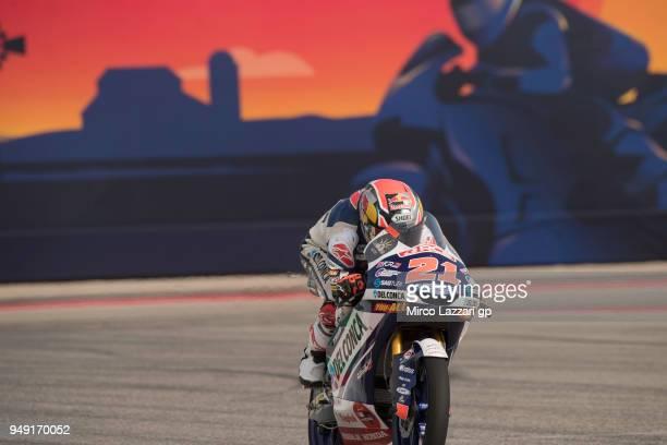Fabio Di Giannantonio of Italy and Del Conca Gresini Moto3 Honda heads down a straight during the MotoGp Red Bull US Grand Prix of The Americas Free...