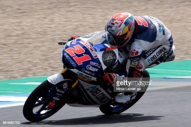 Fabio Di Giannantonio of Italy and Del Conca Gresini Moto3 Honda heads down a straight during the MotoGp of Spain Free Practice at Circuito de Jerez...