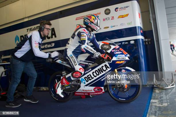 Fabio Di Giannantonio of Italy and Del Conca Gresini Moto3 Honda starts from box during the Moto2 Moto3 Tests In Jerez at Circuito de Jerez on March...