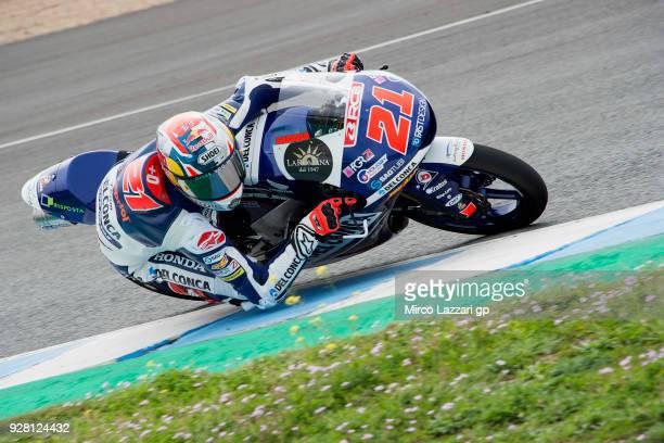 Fabio Di Giannantonio of Italy and Del Conca Gresini Moto3 Honda rounds the bend during the Moto2 Moto3 Tests In Jerez at Circuito de Jerez on March...