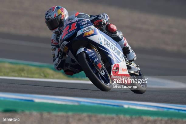 Fabio Di Giannantonio of Italy and Del Conca Gresini Moto3 Honda rounds the bend during the MotoGp of Spain Free Practice at Circuito de Jerez on May...