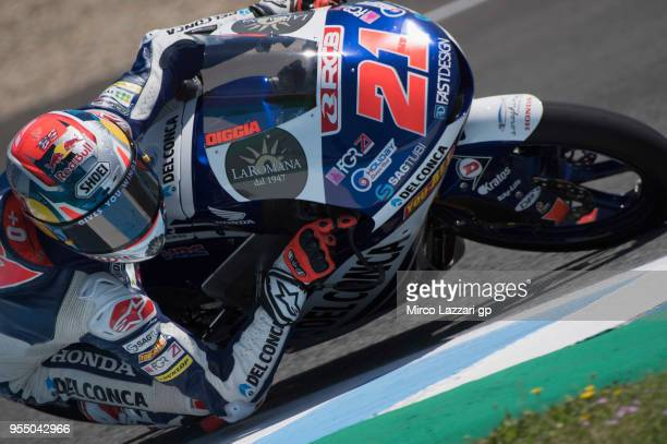 Fabio Di Giannantonio of Italy and Del Conca Gresini Moto3 Honda rounds the bend during the qualifying practice during the MotoGp of Spain Qualifying...