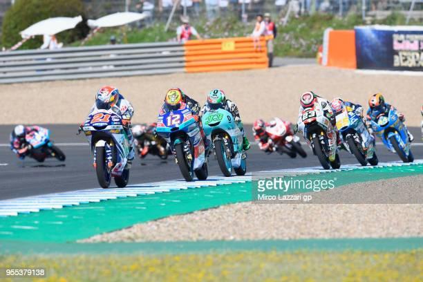 Fabio Di Giannantonio of Italy and Del Conca Gresini Moto3 Honda leads the field during the Moto3 race during the MotoGp of Spain Race at Circuito de...