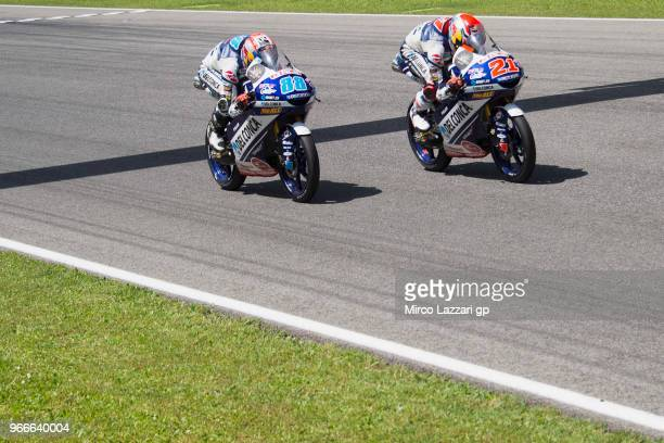 Fabio Di Giannantonio of Italy and Del Conca Gresini Moto3 leads Jorge Martin of Spain and Del Conca Gresini Moto3 during the Moto3 race during the...