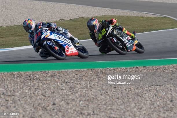 Fabio Di Giannantonio of Italy and Del Conca Gresini Moto3 leads Marcos Ramirez of Spain and Bester Capital Dubai during the MotoGP Netherlands Free...