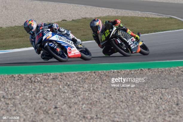 Fabio Di Giannantonio of Italy and Del Conca Gresini Moto3 leads Marcos Ramirez of Spain and Bester Capital Dubai during the MotoGP Netherlands Free...