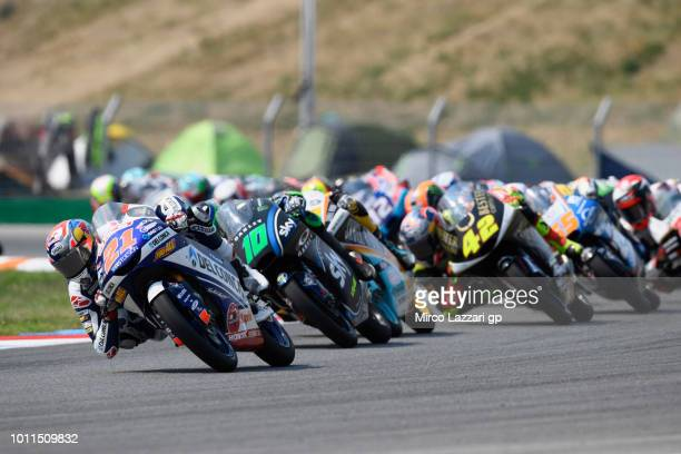 Fabio Di Giannantonio of Italy and Del Conca Gresini Moto3 leads the field during the Moto3 Race during the MotoGp of Czech Republic Race at Brno...