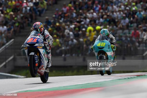 Fabio Di Giannantonio of Italy and Del Conca Gresini Moto3 leads the field during the Moto3 race during the MotoGp of Austria Race at Red Bull Ring...