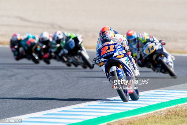 Fabio Di Giannantonio of Italy and Del Conca Gresini Moto3 leads the field during the MotoGP of Japan Qualifying at Twin Ring Motegi on October 20...