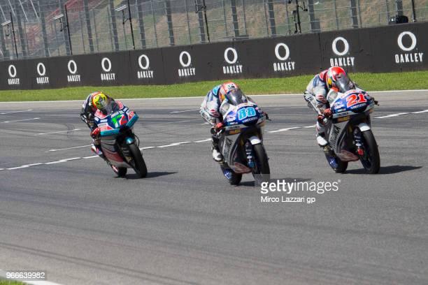 Fabio Di Giannantonio of Italy and Del Conca Gresini Moto3 leads the field during the Moto3 race during the MotoGp of Italy Race at Mugello Circuit...