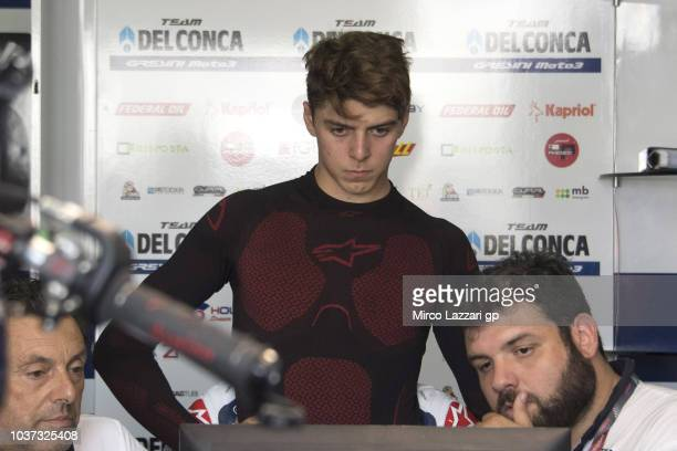 Fabio Di Giannantonio of Italy and Del Conca Gresini Moto3 looks on in box during the MotoGP of Aragon Free Practice at Motorland Aragon Circuit on...