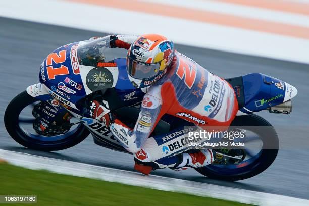 Fabio Di Giannantonio of Italy and Del Conca Gresini Moto3 rides during the MotoGP of Valencia Race at Ricardo Tormo Circuit on November 18 2018 in...
