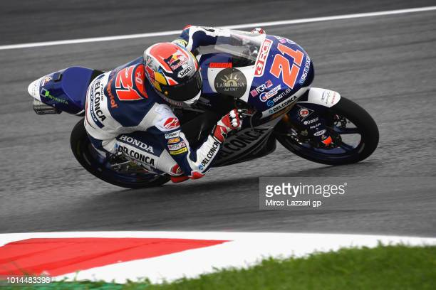 Fabio Di Giannantonio of Italy and Del Conca Gresini Moto3 rounds the bend during the MotoGp of Austria Free Practice at Red Bull Ring on August 10...