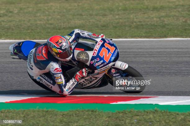 Fabio Di Giannantonio of Italy and Del Conca Gresini Moto3 rounds the bend during the MotoGP of San Marino Free Practice at Misano World Circuit on...