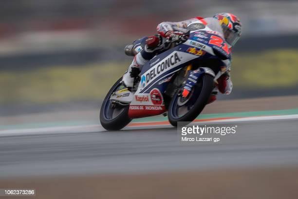 Fabio Di Giannantonio of Italy and Del Conca Gresini Moto3 rounds the bend during the MotoGP Of Valencia Free Practice at Ricardo Tormo Circuit on...